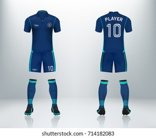 3D realistic of font and back of blue soccer jersey shirt with pants and soccer socks on shop backdrop. Concept for soccer team uniform or football apparel mockup template in vector illustration