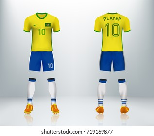3D realistic of font and back of Brazil soccer jersey shirt with pants and soccer socks on shop backdrop. Concept for soccer team uniform or football apparel mockup template in vector illustration.