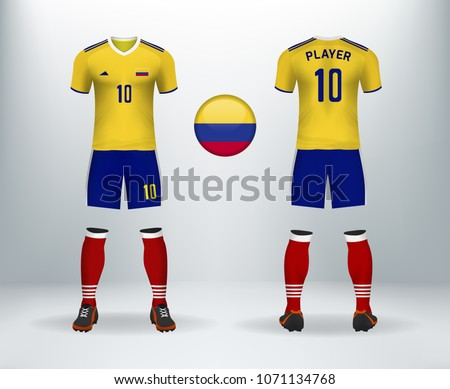 3D realistic of font and back of Colombia soccer jersey shirt with pants  and Colombian badge logo. Concept for national soccer team uniform or  football ... 2cebde77a