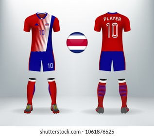 ae4f96f45 3D realistic of font and back of Costa rica soccer jersey shirt with pants  and Costa