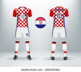 fb726388b5a 3D realistic of font and back of Croatia soccer jersey shirt with pants and  Croatian badge