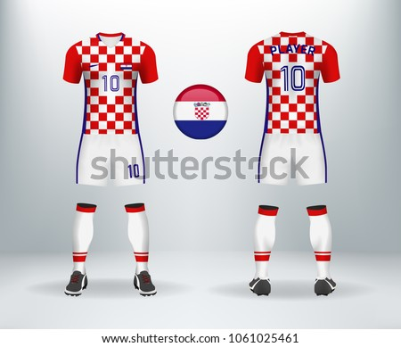 ... and back of Croatia soccer jersey shirt with pants and Croatian badge  logo. Concept for national soccer team uniform or football apparel mockup  template ... 778197c19