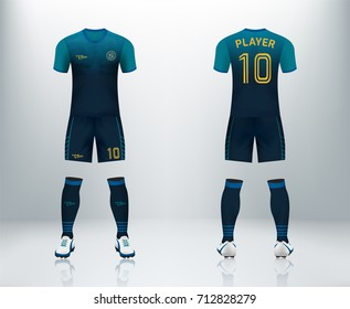 3D realistic of font and back of cyan soccer jersey shirt with pants and soccer socks on shop backdrop. Concept for soccer team uniform or football apparel mockup template in vector illustration