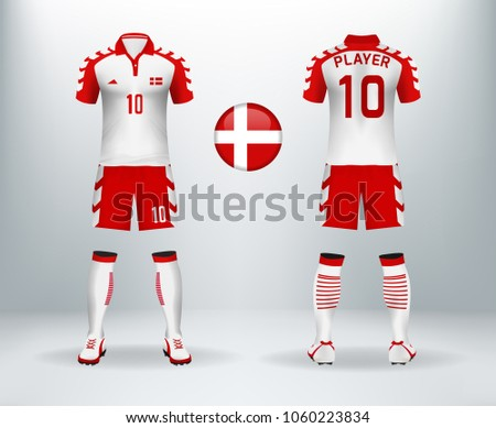 050ce4b3378 3D realistic of font and back of Denmark soccer jersey shirt with pants and  Denmark badge