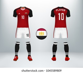 3D realistic of font and back of Egypt soccer jersey shirt with pants and Egypt badge logo. Concept for national soccer team uniform or football apparel mockup template in vector illustration.