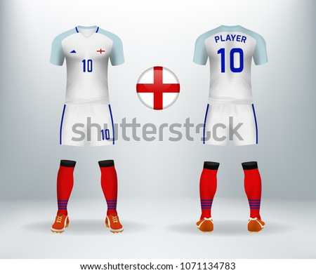 3D realistic of font and back of England soccer jersey shirt with pants and  English badge logo. Concept for national soccer team uniform or football  apparel ... 7073d9d0d