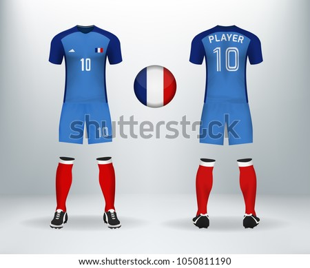 3D realistic of font and back of France soccer jersey shirt with pants and France  badge logo. Concept for national soccer team uniform or football apparel ... a1078af69