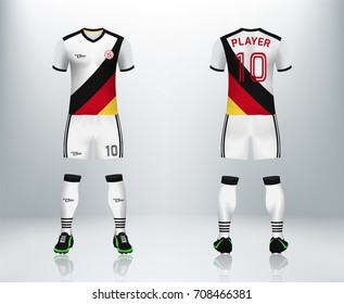 3D realistic of font and back of German soccer jersey shirt with pants and soccer socks on shop backdrop. Concept for soccer team uniform or football apparel mockup template in vector illustration