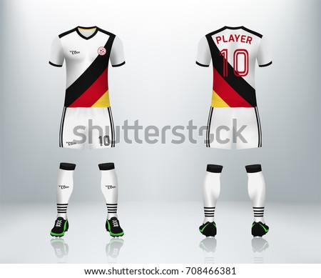 32e3a0be86a 3D realistic of font and back of German soccer jersey shirt with pants and  soccer socks