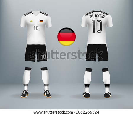 b686dc1066a 3D realistic of font and back of Germany soccer jersey shirt with pants and German  badge