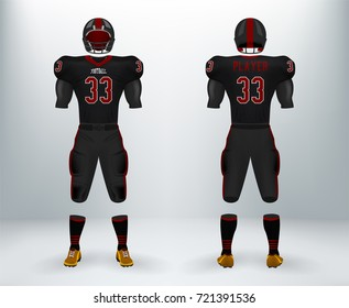 3D realistic of font and back of graphic design of American rugby football jersey uniforms. Concept for football apparel mock up template in vector illustration in retail shop.