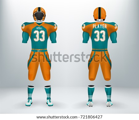 26b4ed7e9 3D realistic of font and back of graphic design of American rugby football  jersey uniforms.