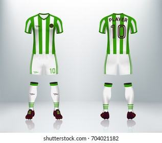 4cf0bef6d0f 3D realistic of font and back of green soccer jersey shirt with pants and  soccer socks