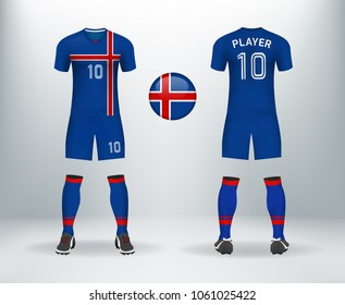 3D realistic of font and back of iceland soccer jersey shirt with pants and iceland badge logo. Concept for national soccer team uniform or football apparel mockup template in vector illustration.