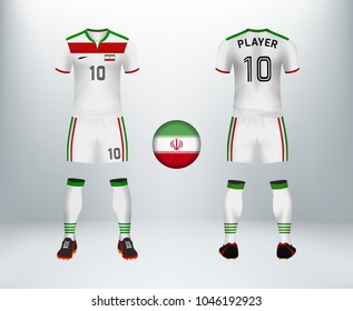 48f3379fc53 3D realistic of font and back of Iran soccer jersey shirt with pants and  Iran badge