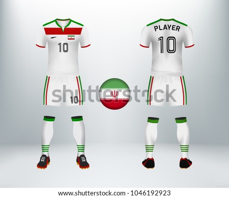 ddbb4badc ... font and back of Iran soccer jersey shirt with pants and Iran badge  logo. Concept for national soccer team uniform or football apparel mockup  template ...