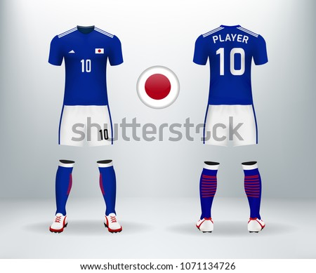 39806ec50 3D realistic of font and back of Japan soccer jersey shirt with pants and Japan  badge