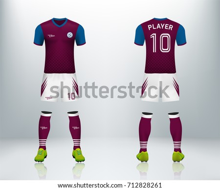 3f561a5124f9 3D realistic of font and back of maroon soccer jersey shirt with pants and  soccer socks
