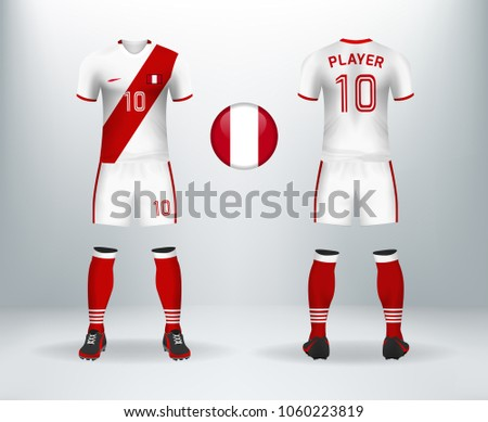 579d175ef18 3D realistic of font and back of Peru soccer jersey shirt with pants and  Peruvian badge