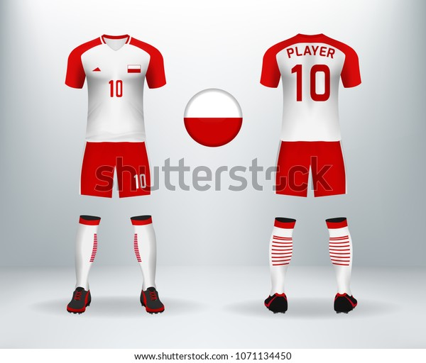 buy online 9e619 28df5 3d Realistic Font Back Poland Soccer Stock Vector (Royalty ...