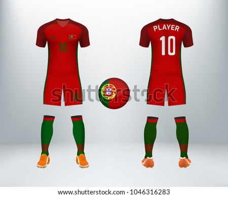 3a631c4b0 3D realistic of font and back of Portugal soccer jersey shirt with pants  and Portugal badge logo. Concept for national soccer team uniform or  football ...