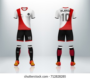 3D realistic of font and back of red soccer jersey shirt with pants and soccer socks on shop backdrop. Concept for soccer team uniform or football apparel mockup template in vector illustration