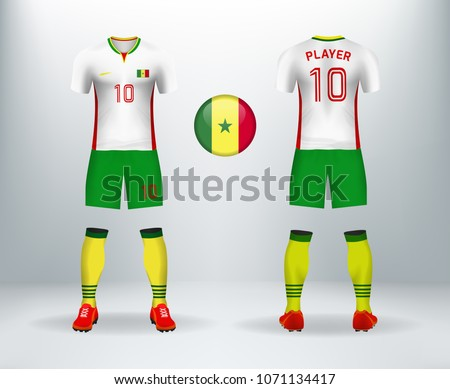 65d74372aa6 3D realistic of font and back of Senegal soccer jersey shirt with pants and Senegal  badge
