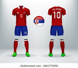 5ffc7898c40 3D realistic of font and back of Serbia soccer jersey shirt with pants and  Serbia badge