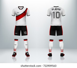 3D realistic of font and back of soccer jersey shirt with pants and soccer socks on shop backdrop. Concept for soccer team uniform or football apparel mockup template in vector illustration