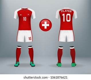 41096fb05fe 3D realistic of font and back of Switzerland soccer jersey shirt with pants  and Switzerland badge