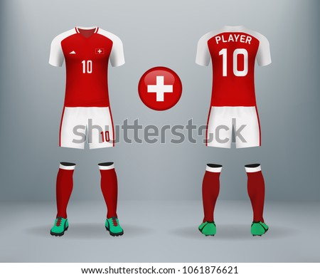 64f9bdec816 3D realistic of font and back of Switzerland soccer jersey shirt with pants  and Switzerland badge