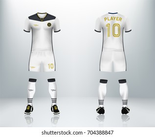 3D realistic of font and back of white soccer jersey shirt with pants and soccer socks on shop backdrop. Concept for soccer team uniform or football apparel mockup template in vector illustration