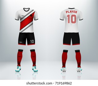 3D realistic of font and back of white soccer jersey shirt with pants and soccer socks on shop backdrop. Concept for soccer team uniform or football apparel mockup template in vector illustration.