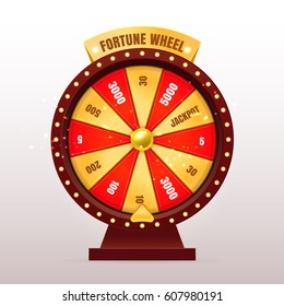 3d realistic Fortune Wheel illustration with 12 gold and red empty sectors. Slots or casino element design. Colorful fortune wheel design. Eps10 vector.