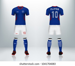 3D realistic of front and back of blue soccer jersey t-shirt with pants and socks on shop backdrop. Concept for soccer team uniform or football apparel mockup template in vector illustration