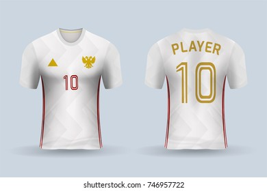3D realistic of front and back of soccer jersey shirt on shop backdrop. Concept for soccer team uniform or football apparel mockup template in vector illustration