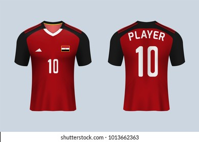 3D realistic of front and back view of soccer jersey shirt on shop backdrop. Concept for soccer team uniform or football apparel mock up.Egypt soccer kit t-shirt template in vector.