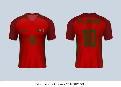 3D realistic of front and back view of soccer jersey shirt on shop backdrop. Concept for soccer team uniform or football apparel mock up.Portugal soccer kit t-shirt template in vector