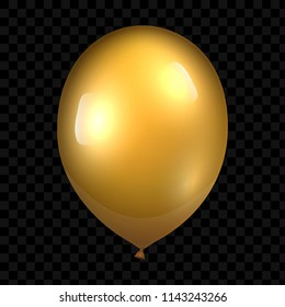 3d Realistic Gold Balloon. Glossy realistic baloon on transparent background. Vector illustration