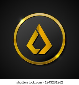 3d realistic gold coin icon. Digital currency. Crypto currency golden coin Lisk symbol isolated on black background. Vector illustration.