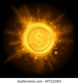 3d realistic gold coin icon. Abstract explosion bokeh light rays and sparkles. Vector illustration isolated on a black background. Empty space for text.