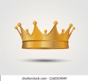 3d realistic golden crown. Vector illustration ESP10