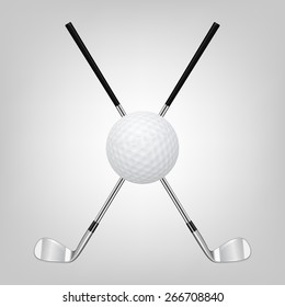 3d realistic golf ball and two crossed golf clubs. Vector EPS10 illustration.