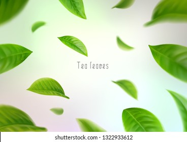 3d realistic isolated tea leaves circling in a whirlwind