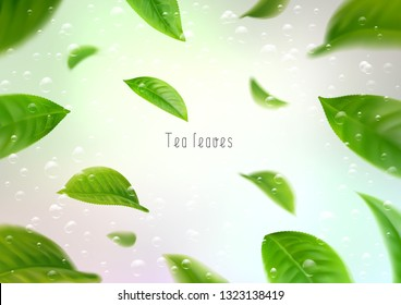 3d realistic isolated tea leaves circling in a whirlwind in water with bubbles