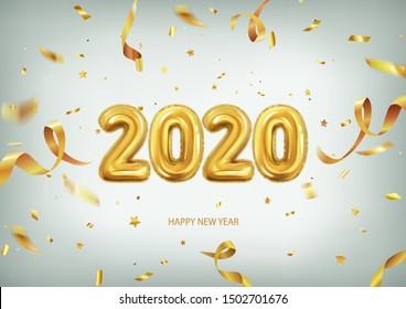 3d realistic isolated vector with golden gel balls arranged as a number two thousand twenty, 2020, New Year's balloons with tinsel to decorate your design, christmas, ads