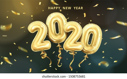 3d realistic isolated vector horizontal banner, golden gel balls arranged as a number two thousand twenty, 2020, New Year's balloons with tinsel to decorate your design, christmas, ads