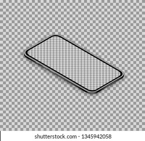 3d realistic isometric smartphone isolated on transparent background. Smart phone with blank touchscreen display. Banner template for mobile app interface design. Perspective view. Vector illustration