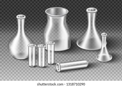 3d realistic laboratory transparent glass equipment. Isolated glass, beakers and measuring cups.
