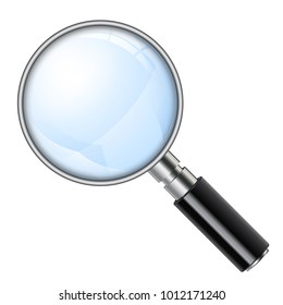 3D Realistic Magnifying Glass (Loupe). Isolated vector illustration on white background.